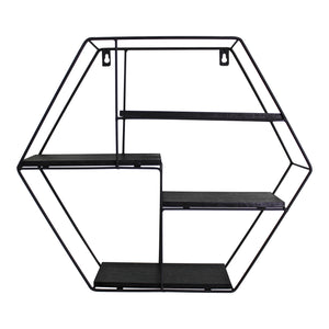 Hexagonal Wall Mounted Shelving Unit with 4 shelves