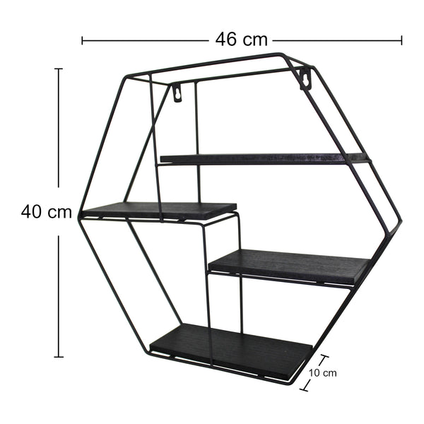 4 Tier Hexagonal Shelving Unit With Dimensions