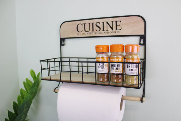 Wall Hanging Kitchen Storage Unit with Kitchen Roll Holder-Shelving-The Modern Home Shop