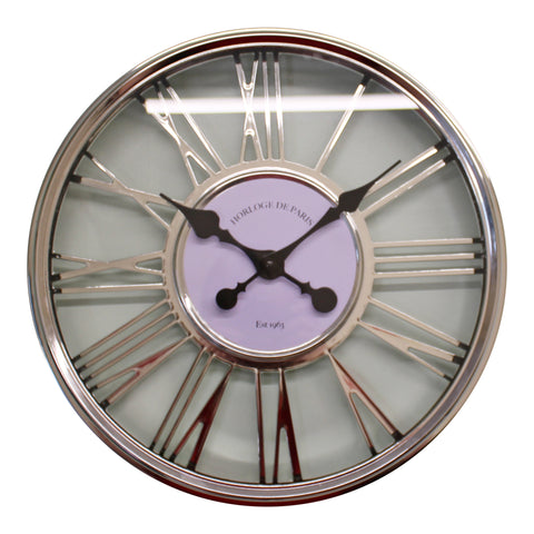 Large Silver Wall Clock 45cm-Clock-The Modern Home Shop