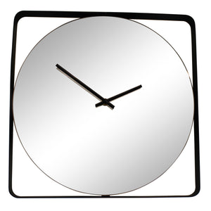 Mirrored Wall Clock With Black Metal Frame-Clock-The Modern Home Shop