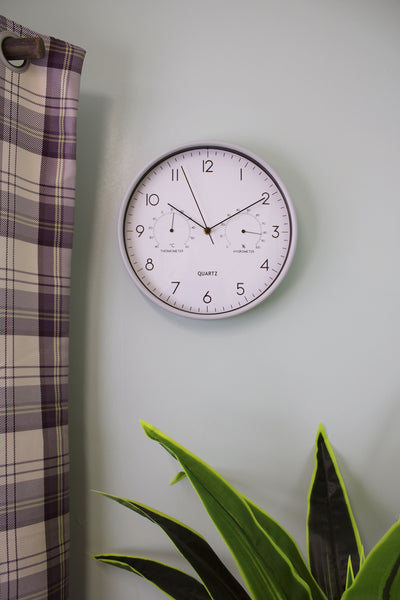 Grey Wall Clock 30cm with Thermometer/Hygrometer-Clock-The Modern Home Shop