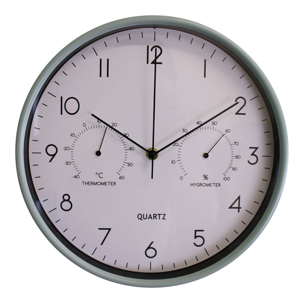 Pale Green Wall Clock 30cm with Thermometer/Hygrometer-Clock-The Modern Home Shop
