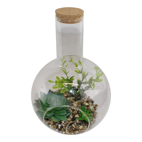 Large Faux Succulent In Glass Terrarium