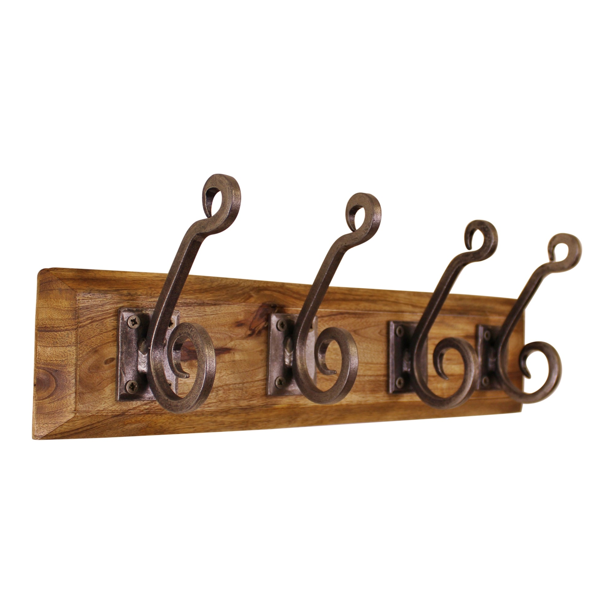 4 Piece Double Metal Hooks On Wooden Base-Decor-The Modern Home Shop