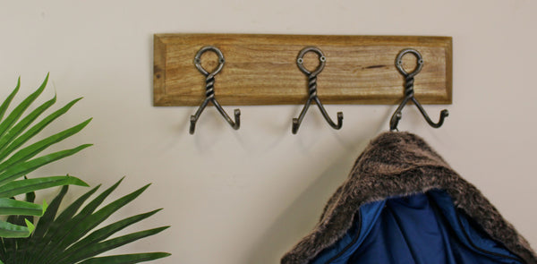3 Piece Double Metal Hooks On Wooden Base-Decor-The Modern Home Shop