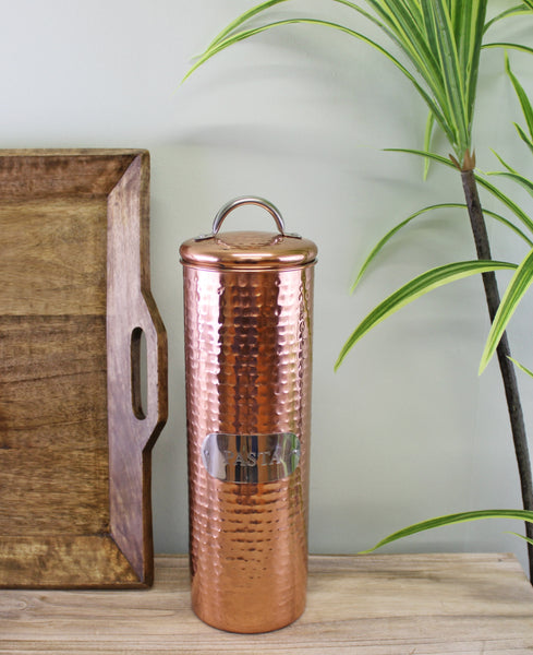 Hammered Copper Pasta Tin