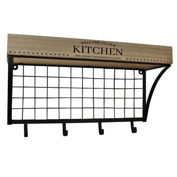 Wall Hanging Kitchen Shelf With Hooks-Shelving-The Modern Home Shop