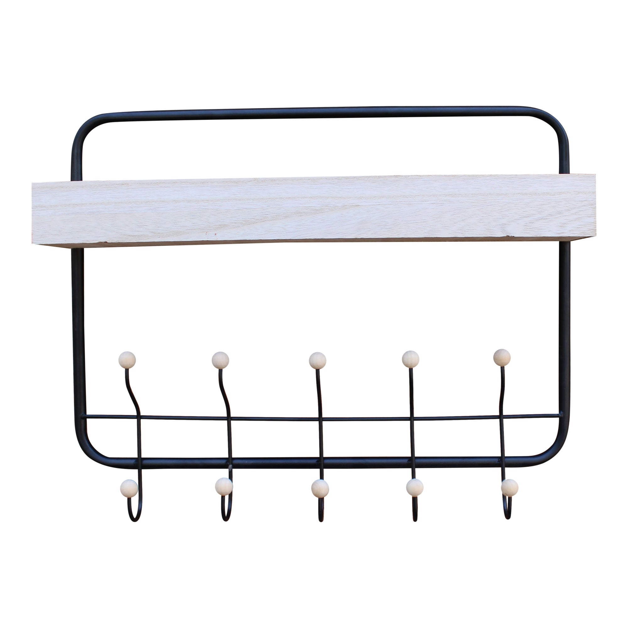 Wall Hanging Shelf With Coat Hooks-Shelving-The Modern Home Shop