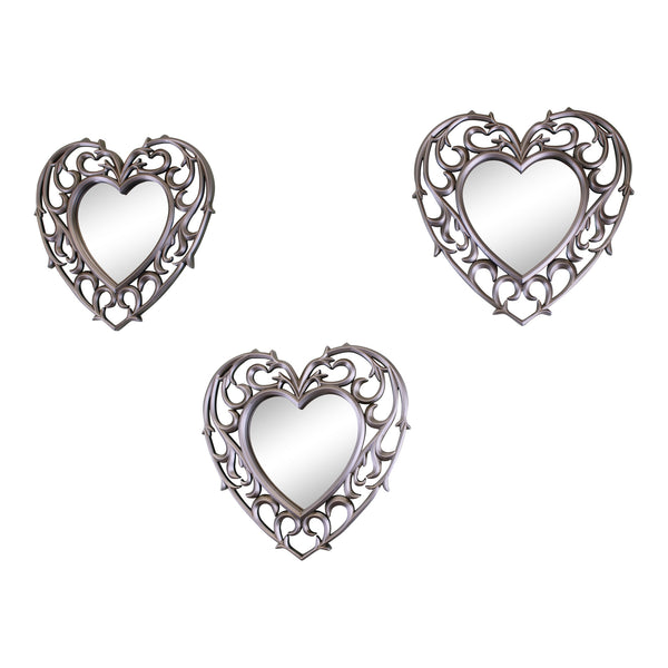 Set of 3 Decorative Silver Filigree Heart Shaped Wall Mounted Mirrors-Mirror-The Modern Home Shop