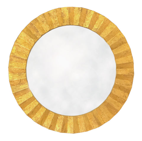 Round Gold Mirror with 3D ZigZag Border - 80cm-Mirror-The Modern Home Shop