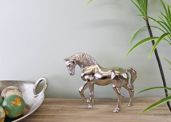 Silver Metal Horse Ornament 23cm Tall