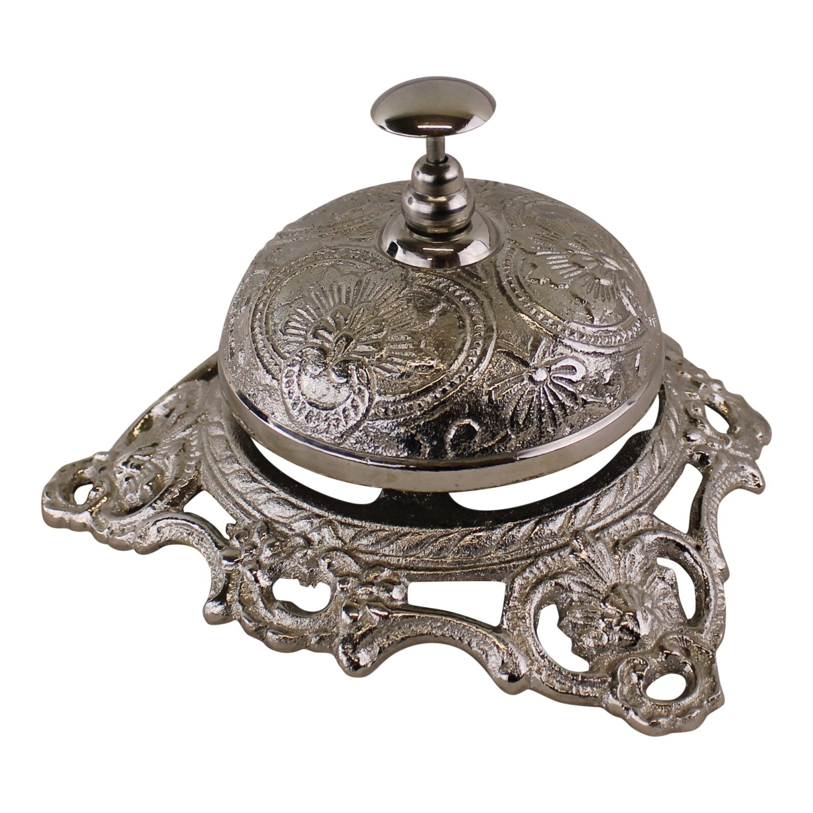 Silver Metal Embossed Desk Bell