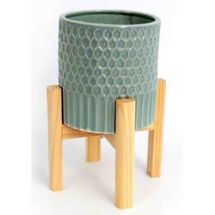 Large Ceramic Teal Coloured Planter On Wooden Stand-Plant Pot-The Modern Home Shop