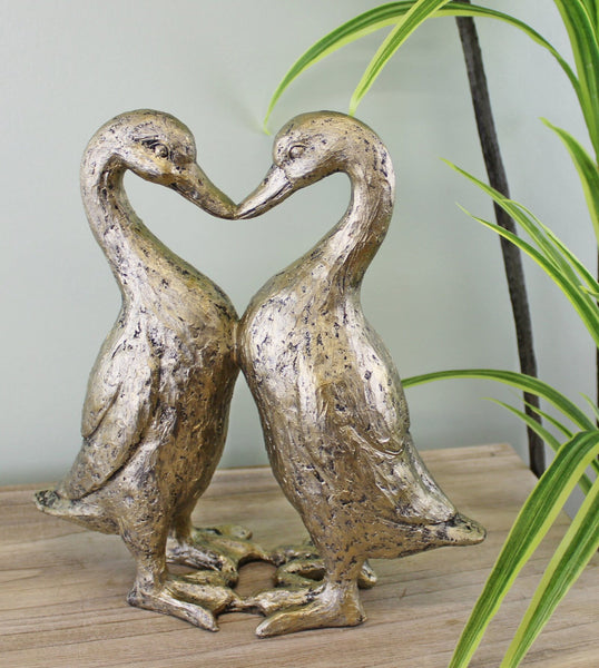Gold Resin Kissing Ducks Heart Ornament