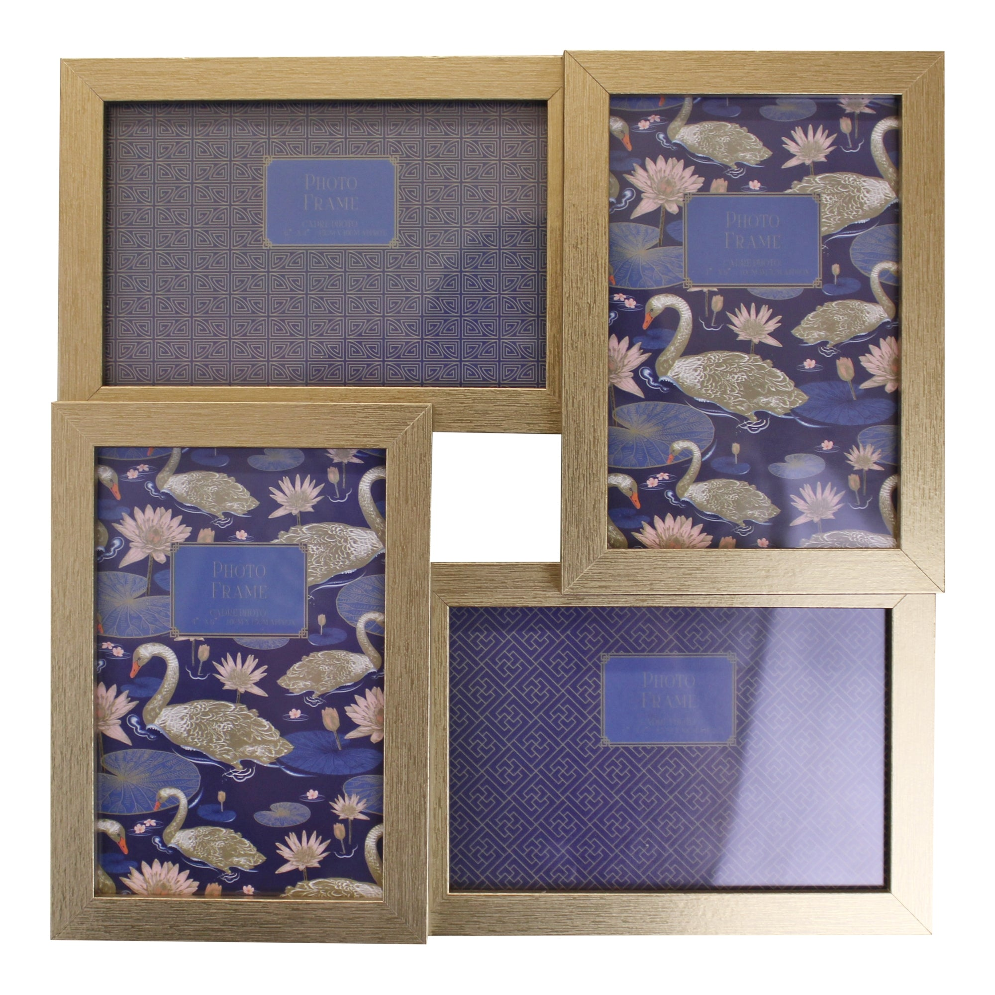 Champagne Gold Wall Hanging Multi Photo Frame, 4 Photos