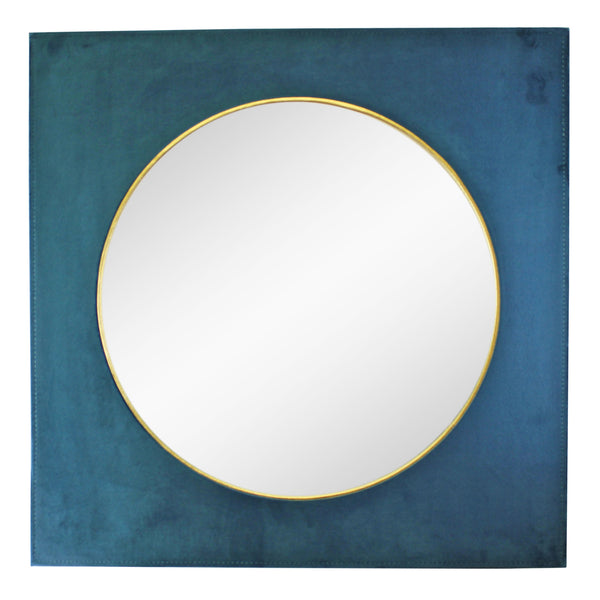 Square Velvet Mirror In Teal Blue, 60cm-Mirror-The Modern Home Shop
