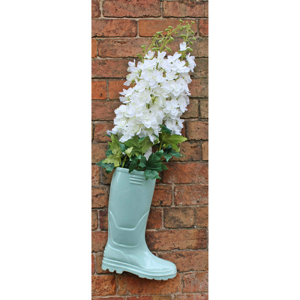 Ceramic Wellington Boot Planter Green 36cm-Plant Pot-The Modern Home Shop