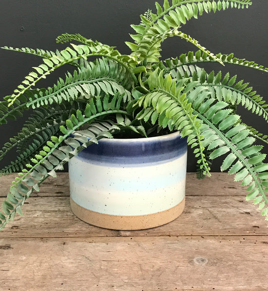 Blue Striped Ceramic Planter-Plant Pot-The Modern Home Shop