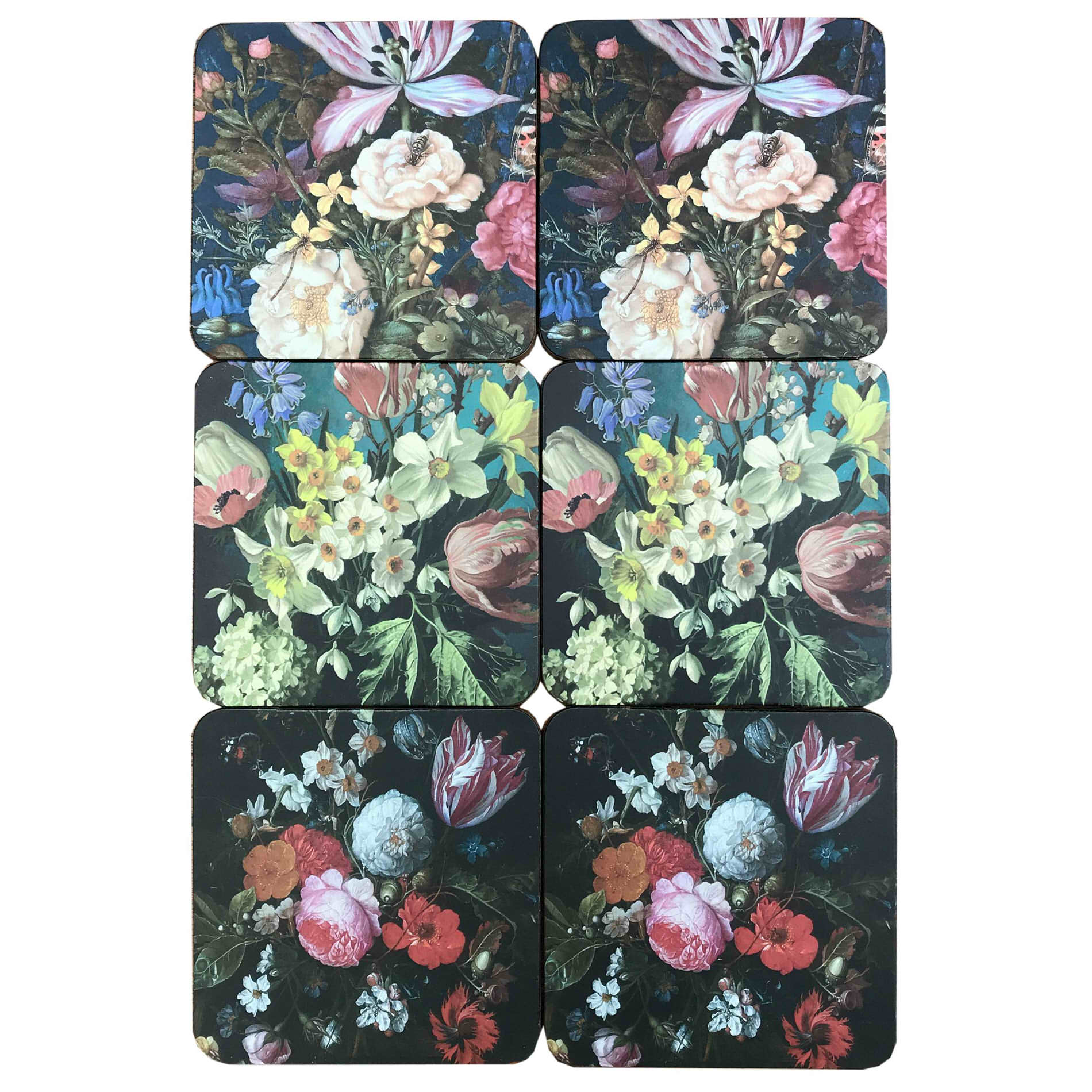 Pack Of Six Dutch Floral Drinks Coasters In Storage/Gift Box-Ornament-The Modern Home Shop