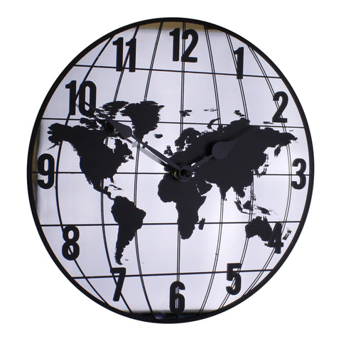 Mirrored Clock Featuring Map Of The World Design 30cm-Clock-The Modern Home Shop
