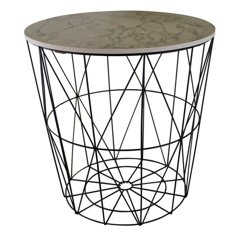 Circular Geometric Side Table Black & Marble Effect-Decor-The Modern Home Shop