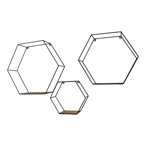 Set of 3 Hexagonal Wall Shelves-Shelving-The Modern Home Shop