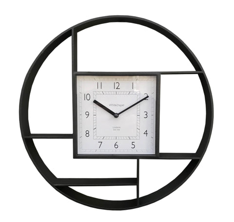 Black Wall Hanging Shelf Unit With Clock-Clock-The Modern Home Shop