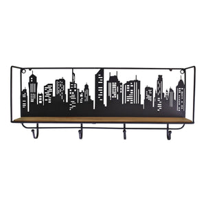 City Skyline Shelf Unit With 4 Hooks