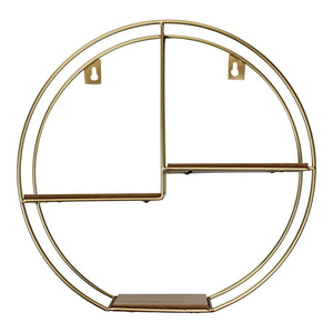Gold Round Metal Wall Shelf with 3 Shelves 34cm