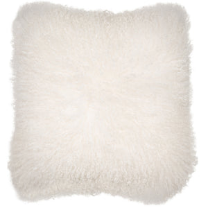 Malini Mongolian Lambswool White Cushion
