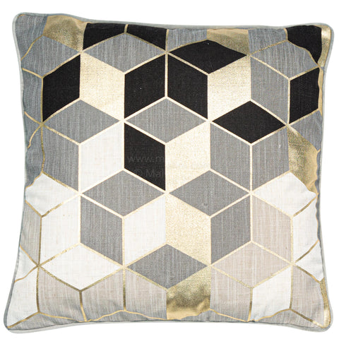 Malini Cubes Grey Cushion-Cushion-The Modern Home Shop