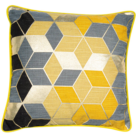 Malini Cubes Mustard Cushion-Cushion-The Modern Home Shop