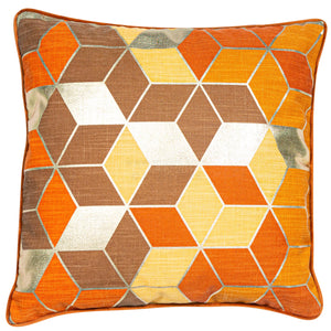 Malini Cubes Orange Cushion-Cushion-The Modern Home Shop