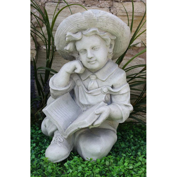 Stone Effect Boy Reading Garden Ornament