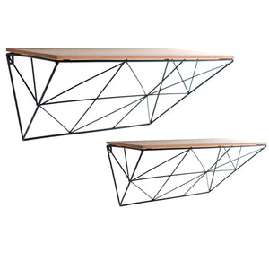 Set of 2 Black Geometric Wire Shelves-Shelving-The Modern Home Shop