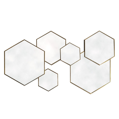 Gold Framed Multi Mirror - Hexagonal-Mirror-The Modern Home Shop