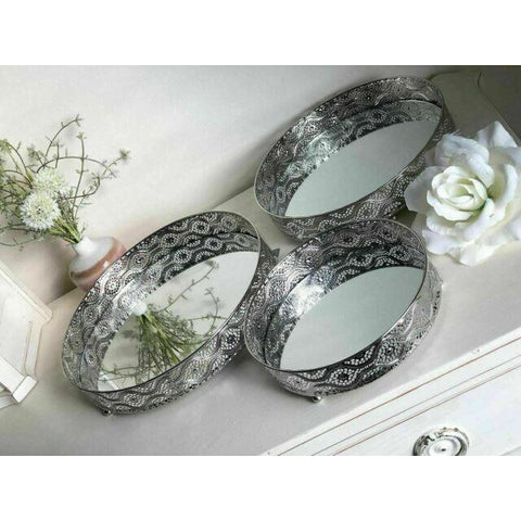 Set Of 3 Silver Metal and Mirrored Candle Plates