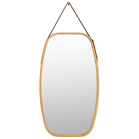 Vintage Oval Hanging Mirror With Leather Hanging Strap 77cm-Mirror-The Modern Home Shop
