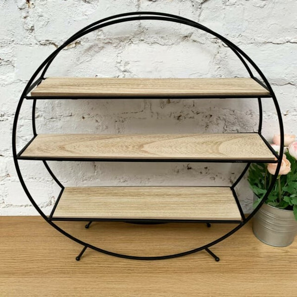 Round Free Standing Shelving Unit With Three Shelves-Shelving-The Modern Home Shop