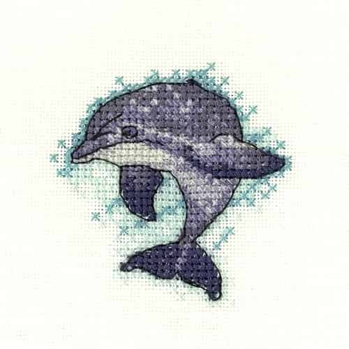 Dolphin counted cross stitch chart