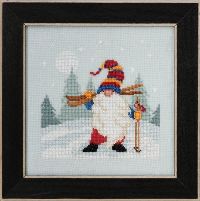 Skiing Gnome counted cross stitch kit