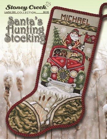 Santa's Hunting counted cross stitch stocking chart
