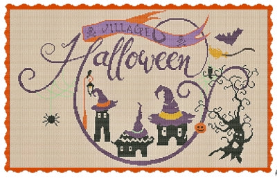 Halloween Village counted cross stitch chart