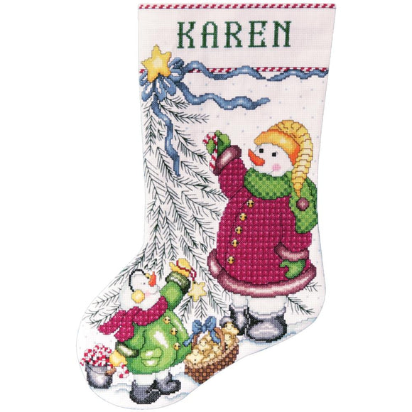 Trim a Tree Snowman Stocking counted cross stitch kit