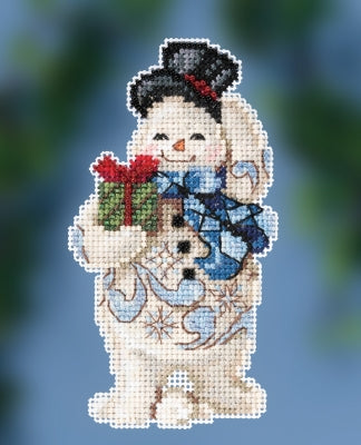 Gift Giving Snowman counted cross stitch kit