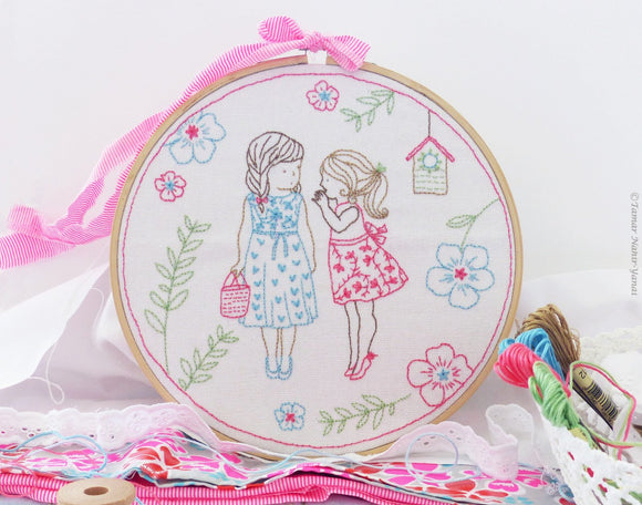 Two Girls and a Secret Embroidery Kit