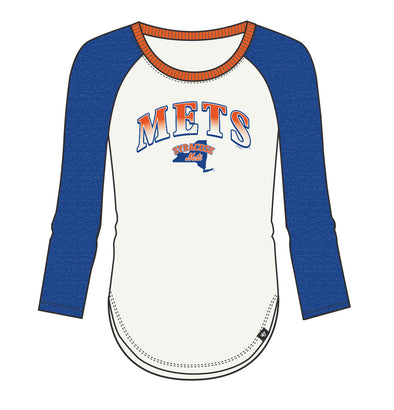 47 Royal/White Ladies Splitter Raglan
