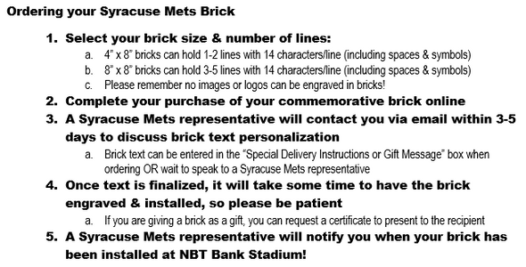Syracuse Mets Brick Program