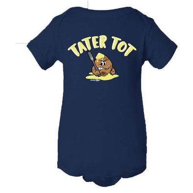 Syracuse Mets Salt Potatoes Navy Tater Tot Onesie